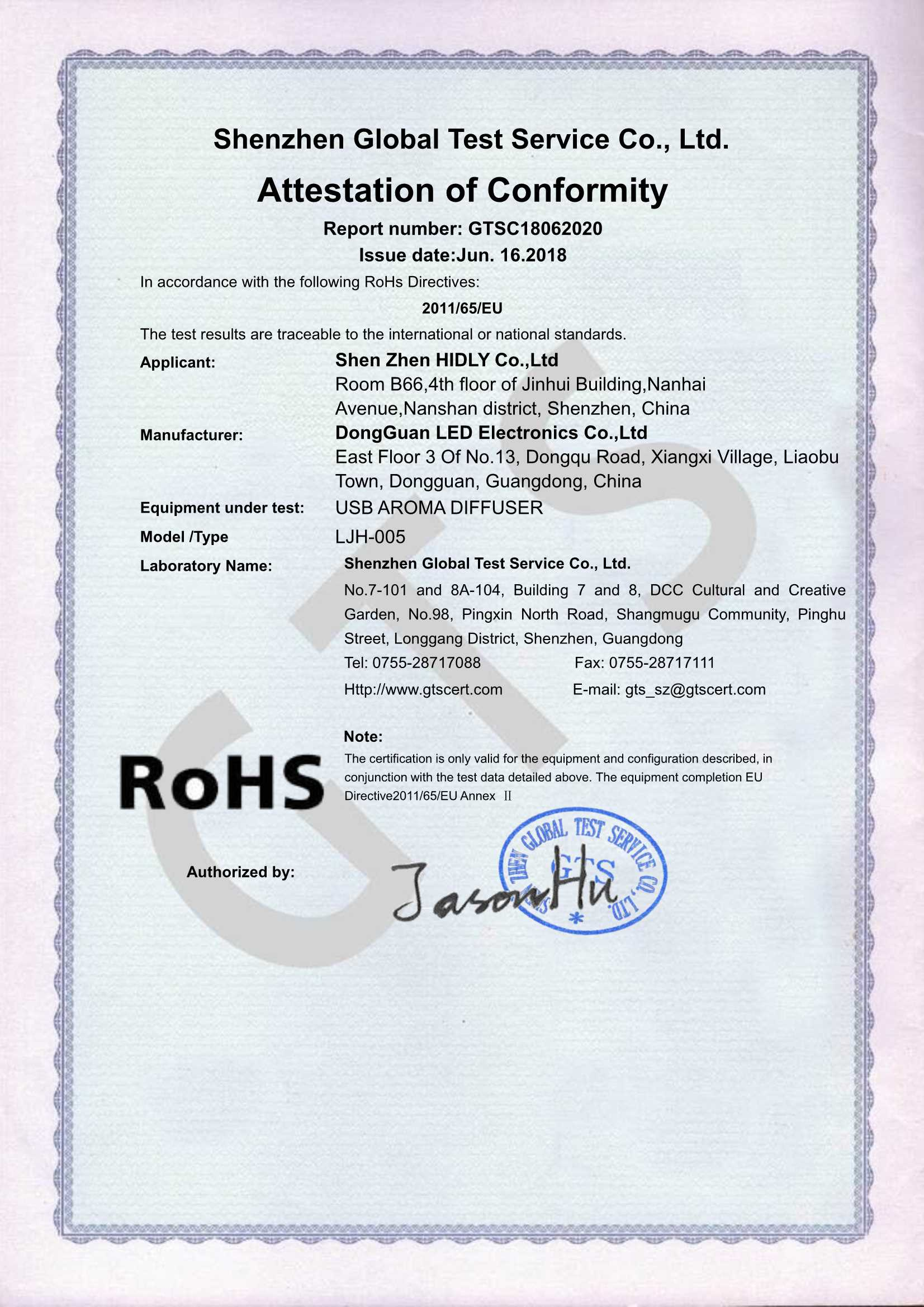 Our aroma humidifier(LJH005)have acquired ROHS Certifications:
