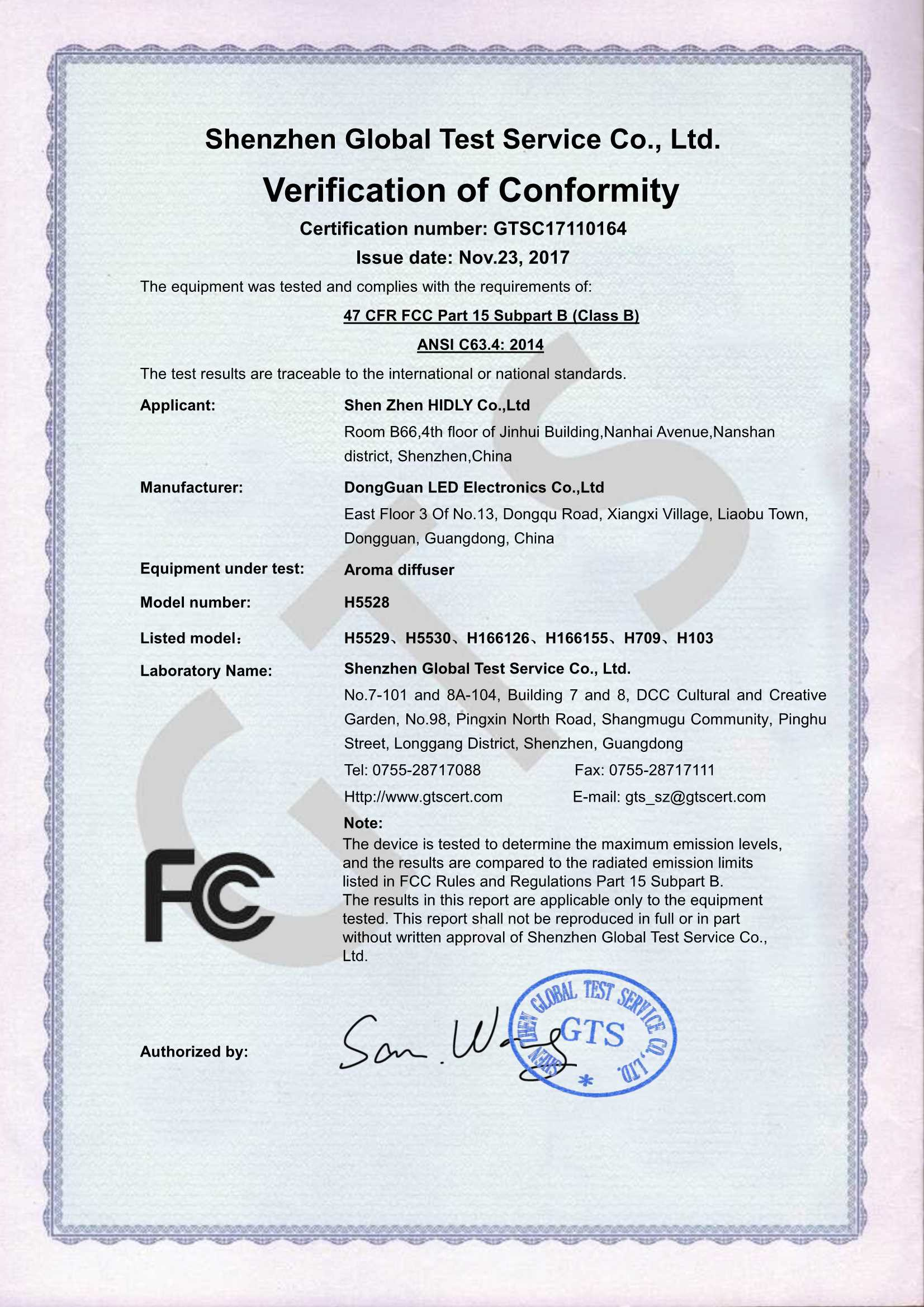 Our aroma diffusers(H5528)have acquired FCC Certifications: