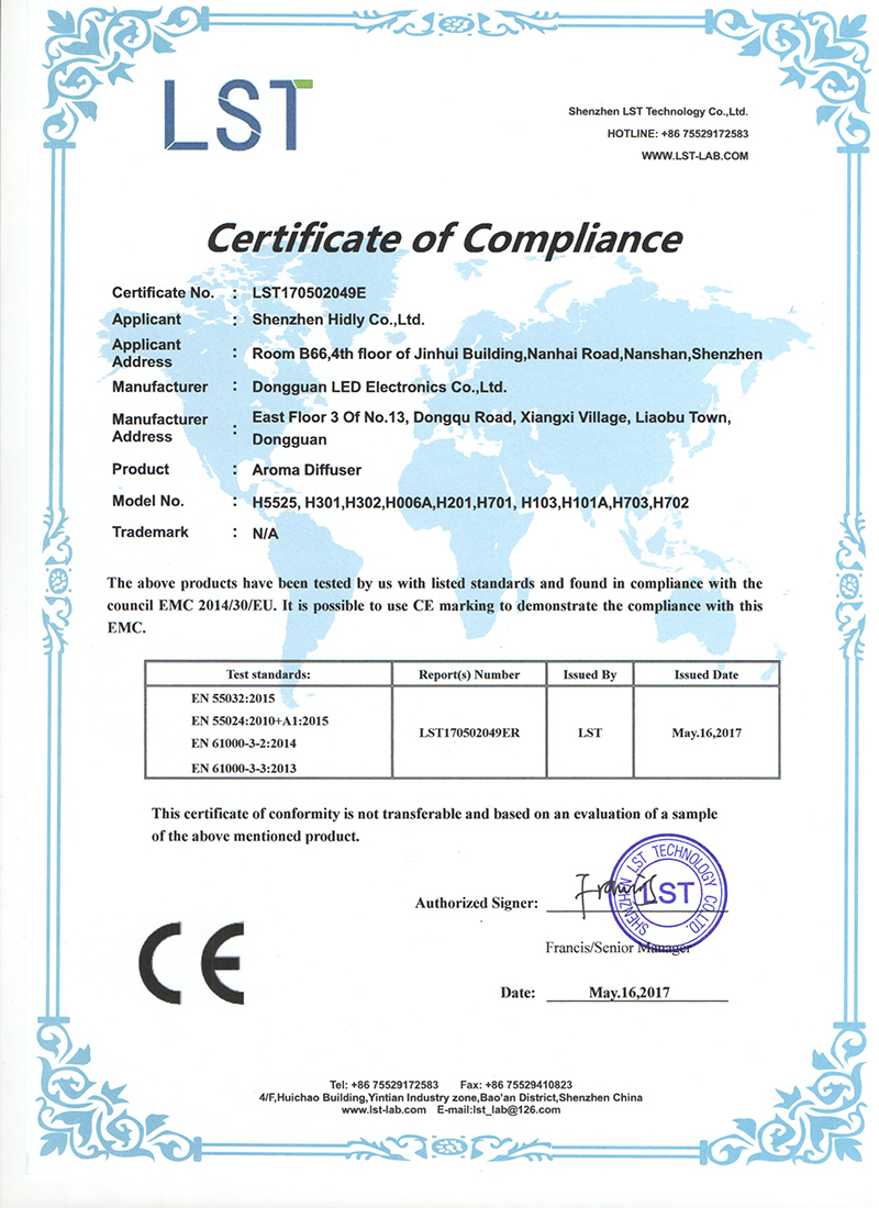 Our aroma diffusers(H5525)have acquired CE Certifications: