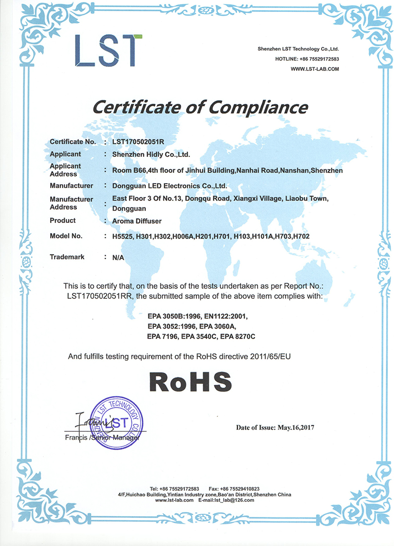 Our aroma diffusers(H5525)have acquired ROHS Certifications: