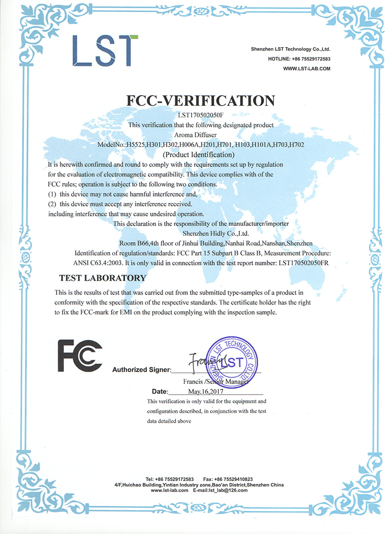 Our aroma diffusers(H5525)have acquired FCC Certifications: